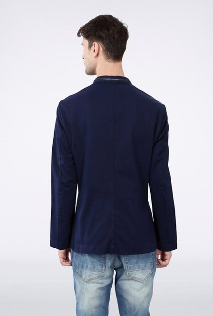 Van Heusen Navy Solid Jacket