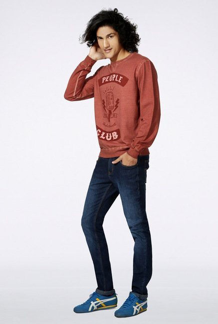 People Red Printed Sweatshirt