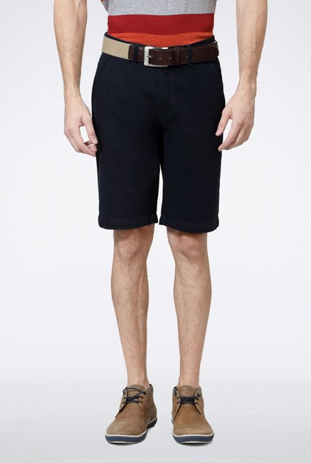 Van Heusen Navy Solid Shorts