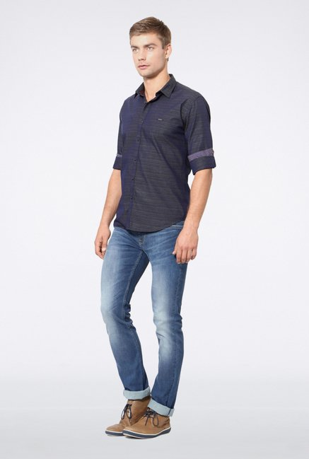 Van Heusen Navy Striped Casual Shirt