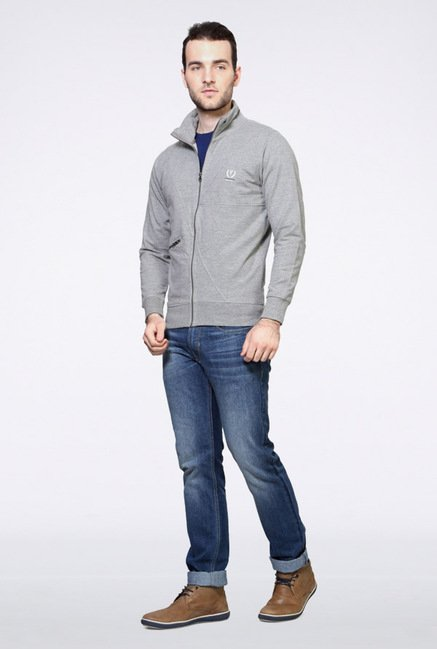 Van Heusen Grey Solid Sweatshirt