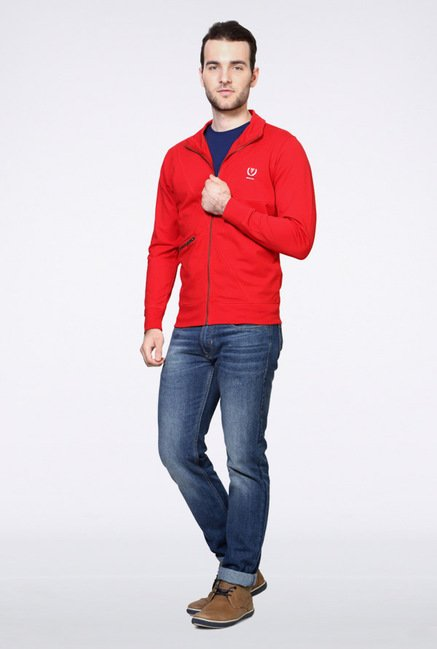 Van Heusen Red Solid Sweatshirt