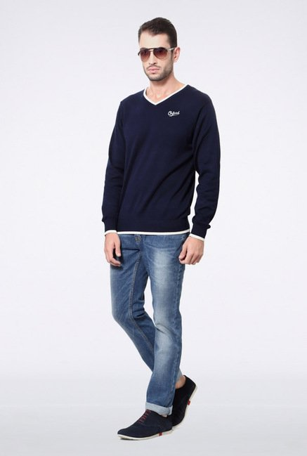 University Of Oxford Navy Solid Sweater