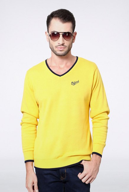 University Of Oxford Yellow Solid Sweater