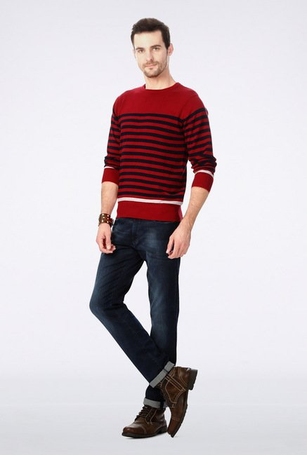 University Of Oxford Red Striped Sweater