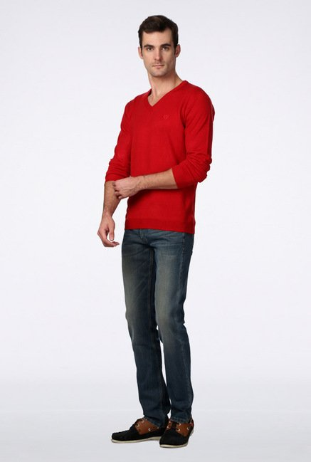 Van Heusen Red Solid Sweater