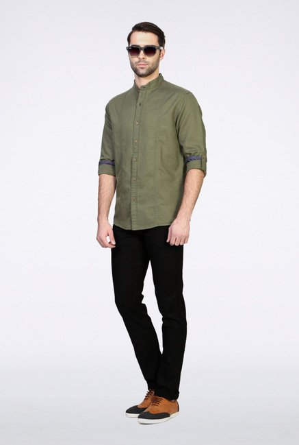 People Green Solid Casual Shirt