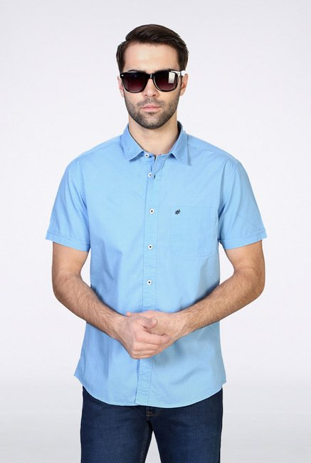 People Blue Solid Casual Shirt