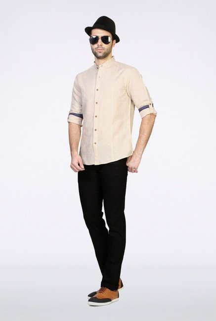 People Beige Solid Casual Shirt