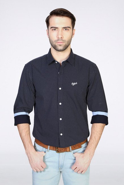 University Of Oxford Navy Printed Casual Shirt