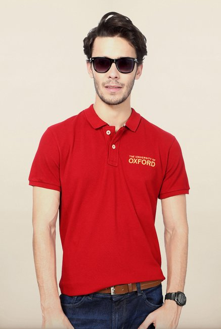 University Of Oxford Red Solid Polo T Shirt