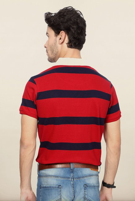 University Of Oxford Red Striped Polo T Shirt