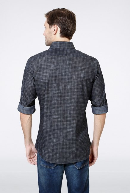 Van Heusen Grey Self Printed Casual Shirt