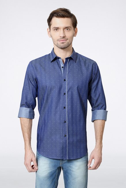 Van Heusen Blue Printed Casual Shirt