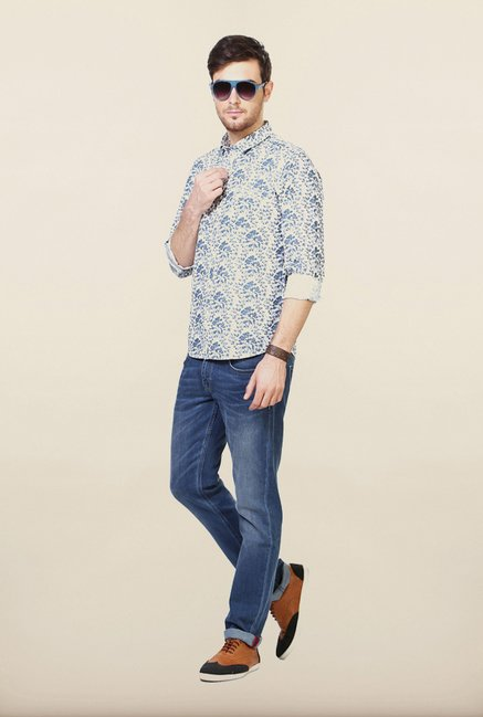 People Navy Printed Casual Shirt
