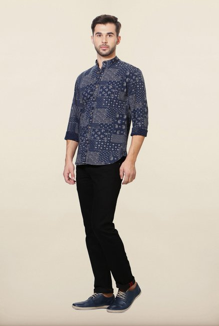 Van Heusen Navy Printed Casual Shirt