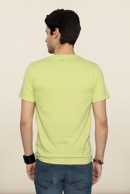 People Yellow Printed Crew T Shirt