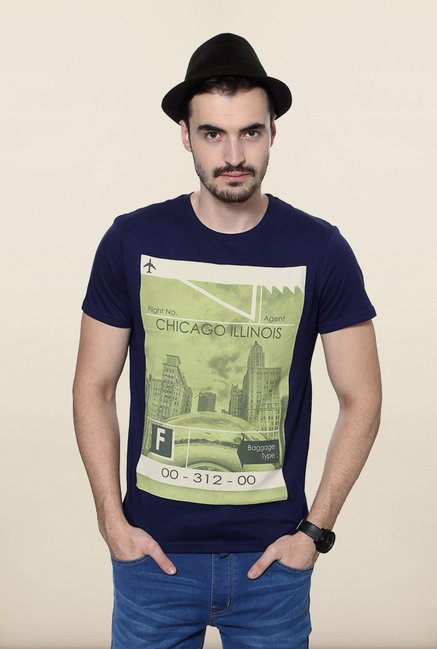 People Navy Graphic Crew T Shirt