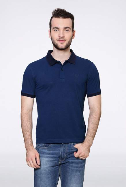 Van Heusen Blue Solid Polo T Shirt