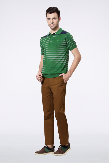 Van Heusen Green Striped Polo T Shirt