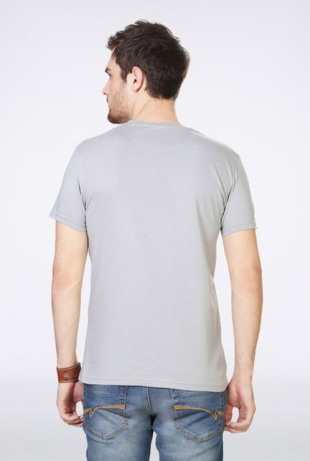 People Grey Printed Crew T Shirt
