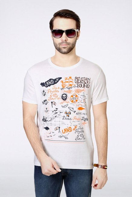 People White Graphic Crew T Shirt