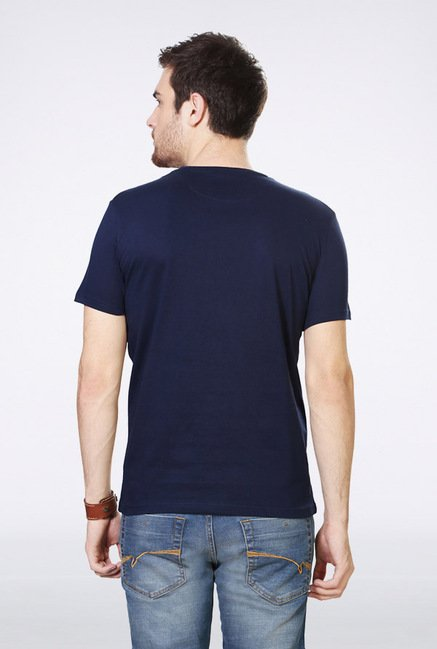 People Navy Printed Crew T Shirt