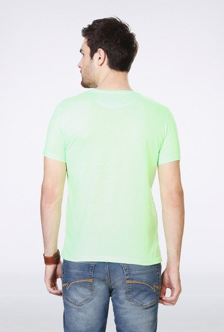 People Sea Green Printed Crew T Shirt