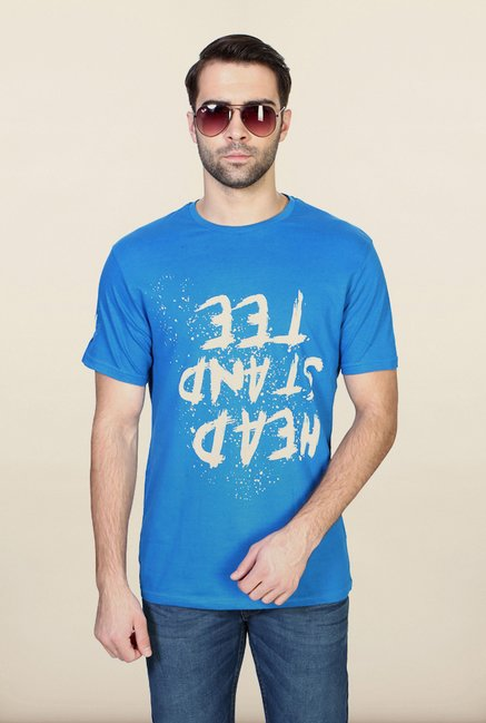 People Blue Graphic Crew T Shirt