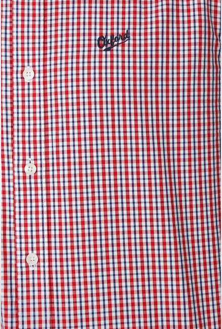 University Of Oxford Red Checks Casual Shirt
