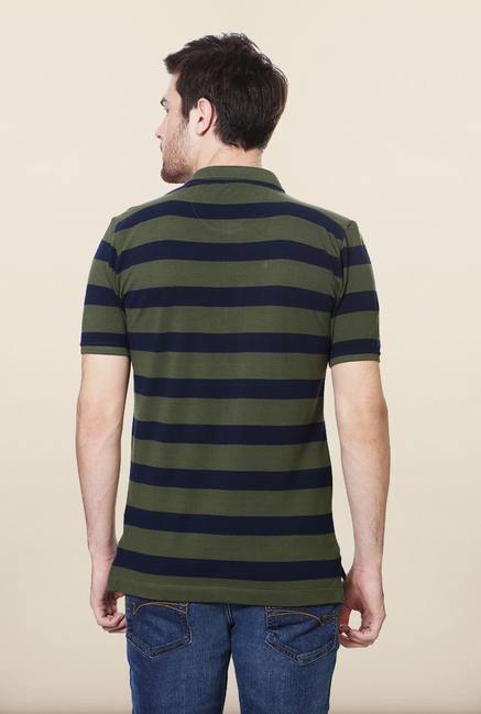 Van Heusen Olive Striped Polo T Shirt