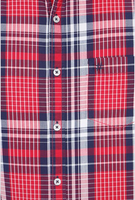 People Red Checks Casual Shirt