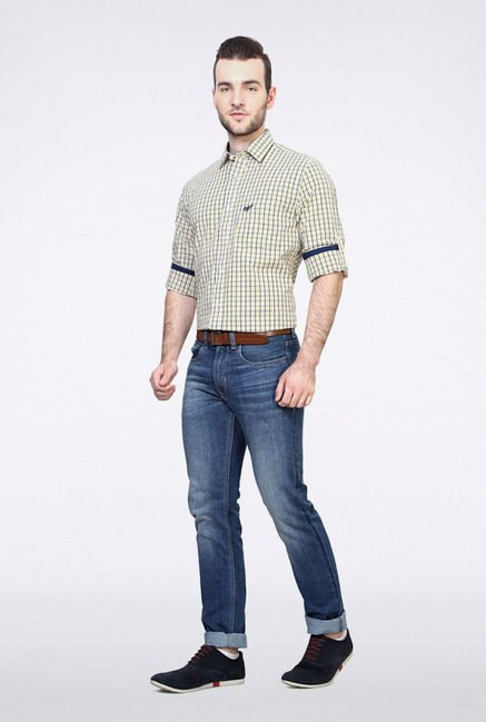 University Of Oxford Yellow Checks Casual Shirt