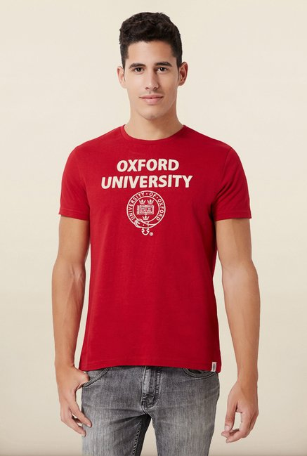 University Of Oxford Red Printed Crew T Shirt