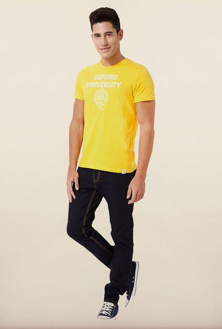 University Of Oxford Yellow Printed Crew T Shirt
