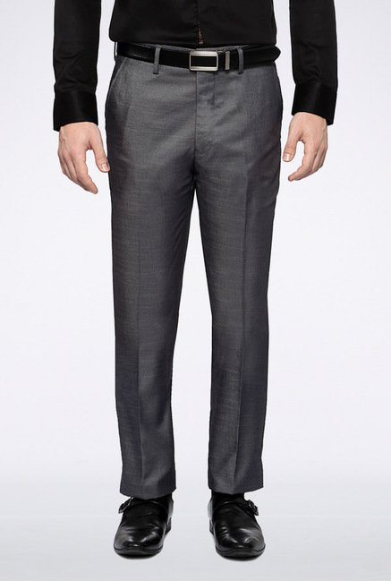 Van Heusen Grey Solid Chinos