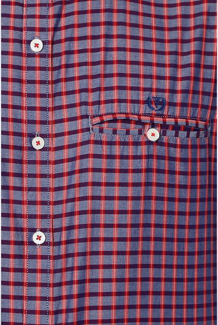 Van Heusen Purple Checks Casual Shirt