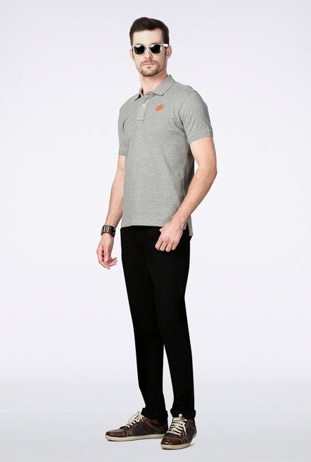 People Grey Solid Polo T Shirt