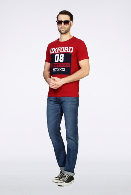 University Of Oxford Red Crew T Shirt