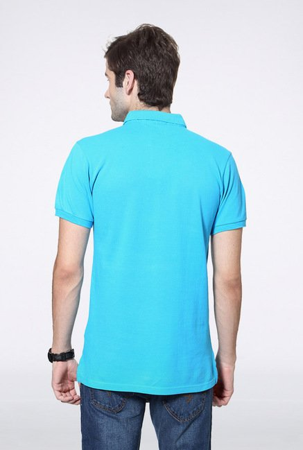 University Of Oxford Aqua Blue Solid Polo T Shirt