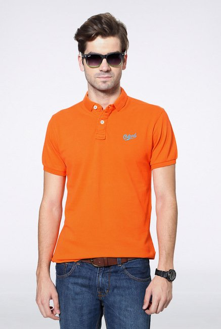 University Of Oxford Orange Solid Polo T Shirt
