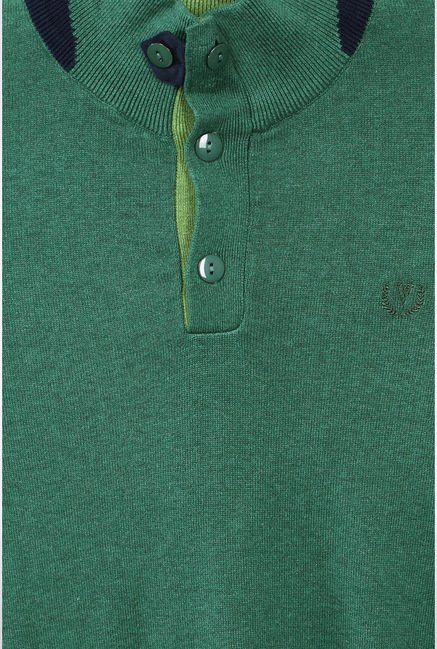 Van Heusen Green Solid Sweater