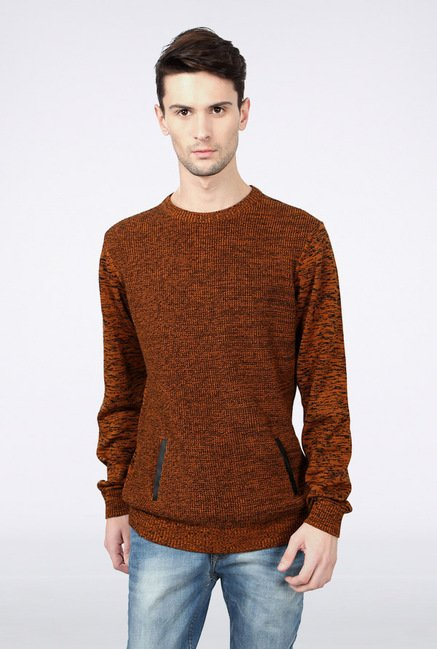 Van Heusen Brown Solid Sweater