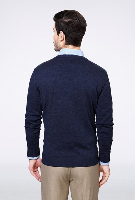 Van Heusen Navy Solid Sweater