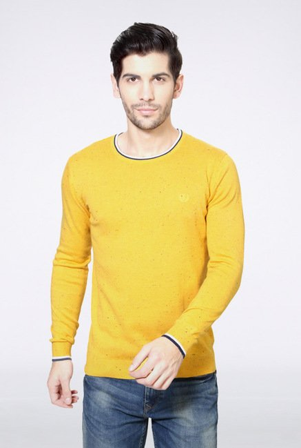 Van Heusen Yellow Solid Sweater