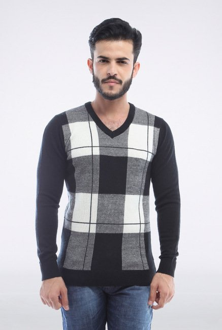 Van Heusen Grey & White Checks Sweater