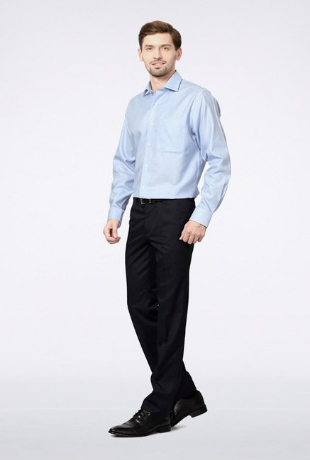 Van Heusen Navy Solid Pleated Trousers