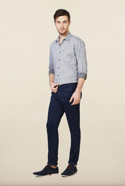 Van Heusen Navy Printed Casual Trousers
