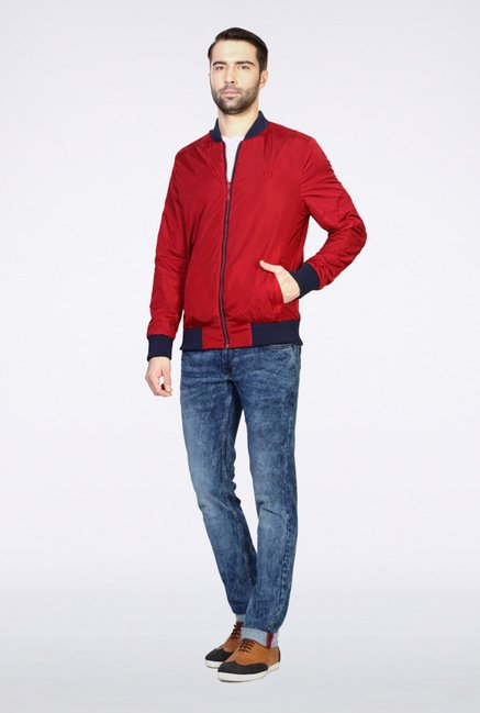 Van Heusen Red Solid Jacket