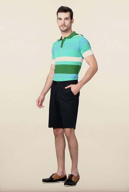 Van Heusen Black Solid Shorts